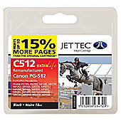 Canon PG-512 Black Compatible Ink Cartridge by JetTec - C512