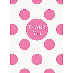 Pink Polka Dot Thank Yous - Party Thank You Cards
