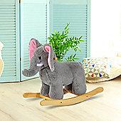 HOMCOM Kids Toy Rocking Ride on Animal Wooden Riding Traditional Rocker (Grey Elephant)