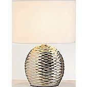 The Lighting & Interiors Group Midi Ripple Table Lamp - Chrome - White Cotton