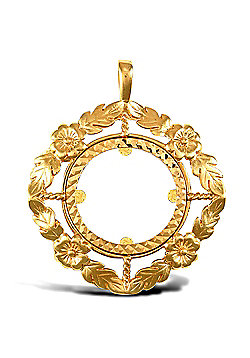 Jewelco London 9ct Solid Gold casted half-size flower design Sovereign coin pendant mount
