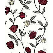 Superfresco Easy Capri Paste The Wall Floral Red Wallpaper