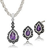 Gemondo Sterling Silver Amethyst & Marcasite Art Nouveau Style Stud Earring & Necklace Set