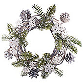 25cm Wicker, Pine Cone, Snowflake & Artificial Fir Woodland Christmas Wreath