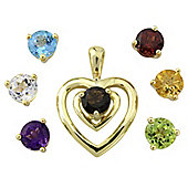 Silver with 9ct Gold Overlay Rainbow Stone Pendant with Chain