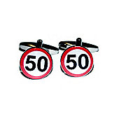Age 50 Road Sign Style Cufflinks