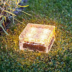 Large Warm White LED Solar Garden Glass Path Light