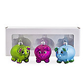 Set of Three Brightly Coloured Glass Pig Christmas Tree Baubles