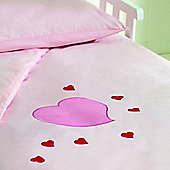 Saplings Cot Bed Quilt & Pillowcase Set - Young Hearts
