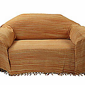 Homescapes Bed Sofa Throw Cotton Chenille Tie Dye Rust, 220 x 240 cm