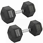 Confidence Fitness 2 X 22.5Kg Anti-Roll Hex Rubber-Coated Cast Dumbbells Weights