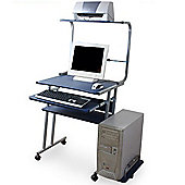 Lincoln - Computer Workstation / Office Desk - Silver / Blue