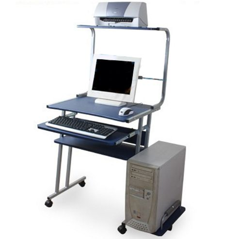 Buy lincoln computer workstation office desk silver blue from our office desks tables - Tesco office desk ...
