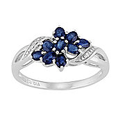 Gemondo Sterling Silver 0.78ct Natural Blue Sapphire & Diamond Contemporary Cluster Ring