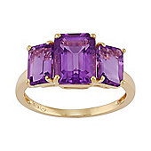 Gemondo Gold Plated Sterling Silver 3.35ct Natural Amethyst Three Stone Style Ring