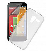 Motorola G Frosted Clear TPU Case and Screen Protector