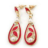Red Enamel White Simulated Pearl Teardrop Earring In Gold Plating - 45mm Length