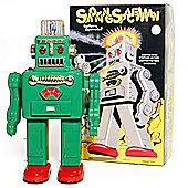 Smoking Robot - Retro Tin Collectable Ornament - Green