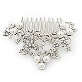 Bridal/ Wedding/ Prom/ Party Rhodium Plated Clear Crystal, White Glass Pearl Asymmetrical Hair Comb - 95mm