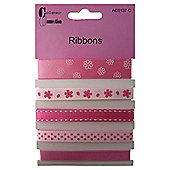 Assorted Ribbons, Pink Design , 1m, 5 Pack