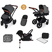 Ickle Bubba Stomp V3 AIO Travel System with 2 x Isofix Base + Mosquito Net Red (Black Chassis)