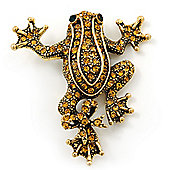 Gold Plated Citrine Crystal 'Frog With Bow' Brooch - 50mm Length