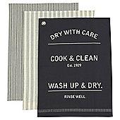 "Tesco ""Wash Up & Dry"" Tea Towels, 3 Pack"