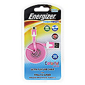Energizer Flat 1M Micro USB Cable - Pink