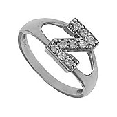 Silver Cubic Zirconia Identity ID Initial Signet Ring Letter Z