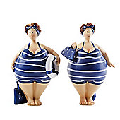 Pair of Standing Nautical Themed Fat Lady Figurine Ornaments