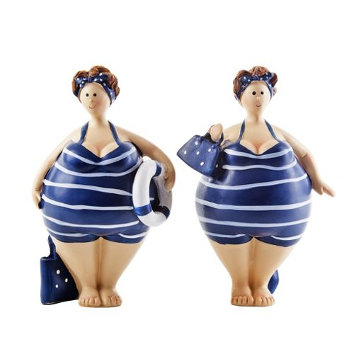 Buy pair of standing nautical themed fat lady figurine