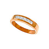 QP Jewellers White Topaz Princess Prestige Ring in 14K Rose Gold