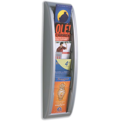 Fast Paper Quick Fit Literature Holder Wall-mount 5 x 1/3xA4 Pocket W181xD95xH650mm Aluminium Ref 4062.35