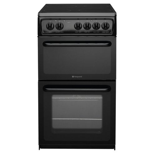 Hotpoint HAE51KS Black Electric Cooker, Twin Cavity, Single Oven