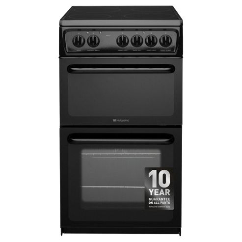 Hotpoint HAE51KS, Freestanding, Electric Cooker, 50cm, Black, Twin Cavity, Single Oven