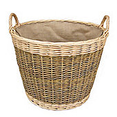 Wicker Valley Unpeeled Log Basket with Lining
