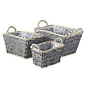 Parlane Set of Three Rectangular Willow Baskets - 23 x 36cm