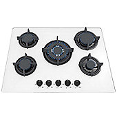 SIA GHG703WH 70cm White 5 Burner Gas on Glass Hob With FFD/LPG KIT/CAST IRON