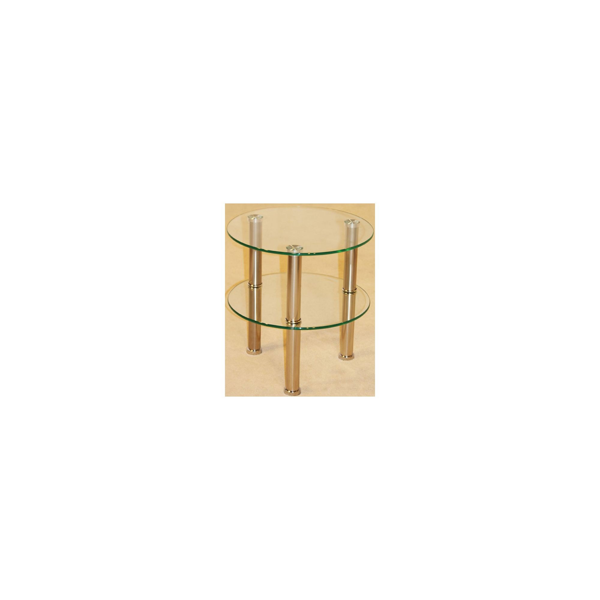 Kansas 2 Shelf Round Clear Side Table