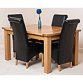 Seattle Solid Oak 150 cm Extending Dining Table with 4 Montana Leather Dining Chairs (Black)