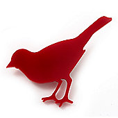 Red Acrylic Sparrow Brooch