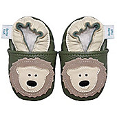 Dotty Fish Soft Leather Baby Shoe - Khaki Green and Cream Bear - Khaki