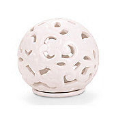Decorative White Ceramic Sphere Tealight Holder for Garden or Home