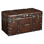 Faux - Leather Look Large Storage Trunk / Case - Brown