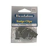 Beadalon Badge Clip Swivel Whtplt 4Pcs