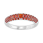 Gemondo Sterling Silver 0.80ct Natural Orange Sapphire Pave Set Half Eternity Style Ring