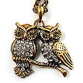 Long Diamante Owl Pendant Necklace (Antique Gold Tone) - 66cm