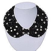 Black Acrylic Bead Clear Diamante Felt Peter Pan Necklace - 36cm Length