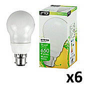 Pack of 6 11W Energy Saving BC B22 GLS Bulbs in Warm White