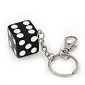 Large Black/White Resin 'Lucky Dice' Keyring/ Bag Charm In Silver Plating - 14cm Length